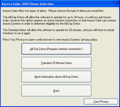 Demo Selection Dialog