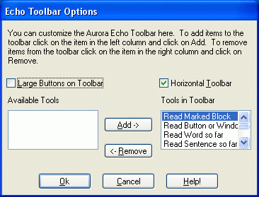 Echo Toolbar Options