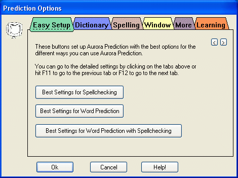 Prediction Options Easy Setup