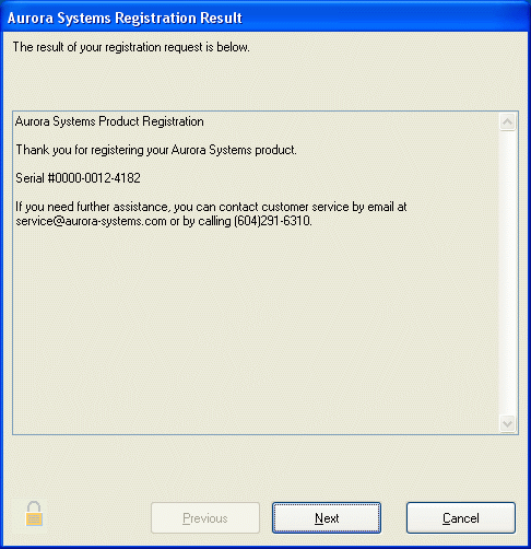 Registration Result Dialog